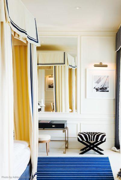 Bedroom Bliss. Drapery details at JK Place Hotel in Capri. Interior Designer and Architect:  Michele Bonan.