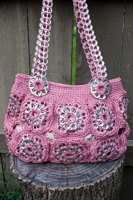 Upcycled Rose Crochet Pop Tab Purse.