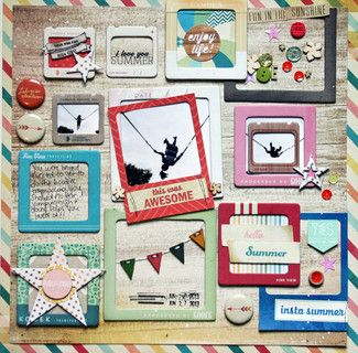#papercraft #scrapbook #layout Hello Summer by Amanda Johnson at @Studio_Calico