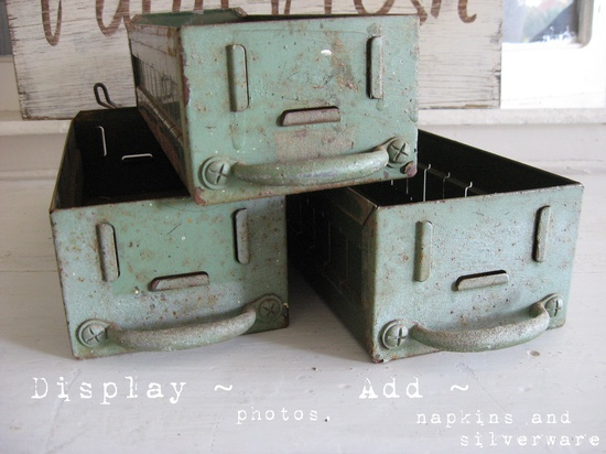 Sweet Magnolias Farm Vintage Finds ~ Old Rustic Green Paint Metal Drawers ~ (7) available $14.50