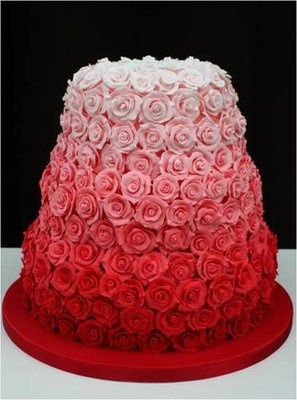 Pink and red ombre roses wedding cake!