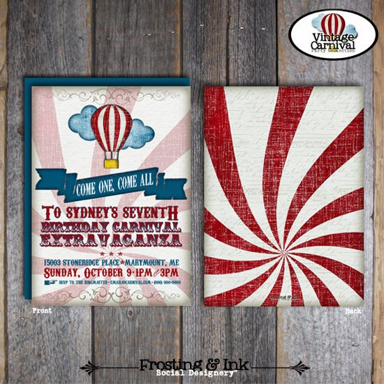 Carnival Party  Circus Party  Invitation & Wrap by frostingandink, $20.00