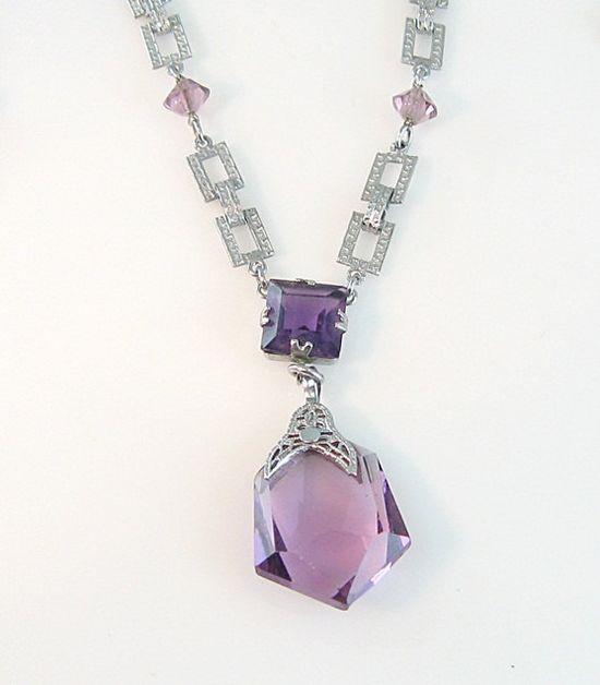 Art Deco Amethyst Necklace Rhodium Filigree by bohemiantrading, $130.00
