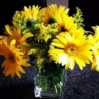 Flower arrangement for baby shower.
