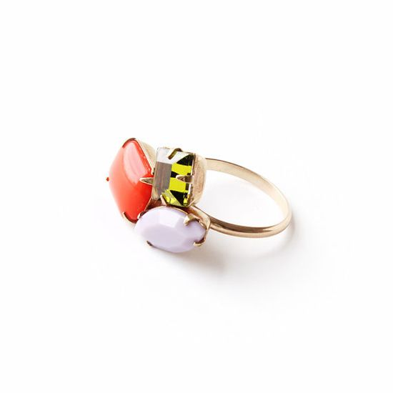NEW Candy Multi Gold & Glass Cocktail Ring / 14k by SOFTGOLDSTUDIO