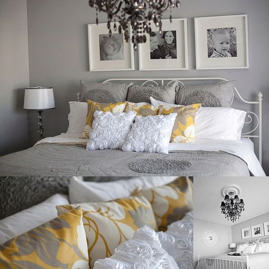 BEAUTIFUL GREY AND YELLOW BEDROOM-- love the black and white pictures