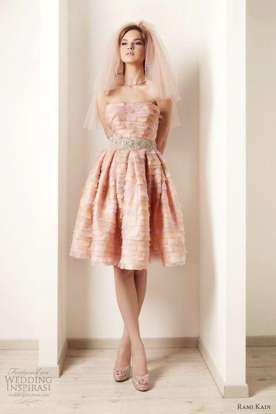 rami kadi 2012 bridal multi color short wedding dress