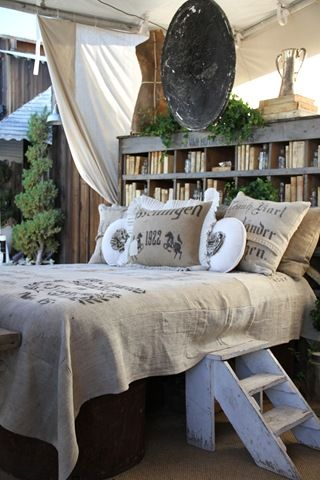 bed and the bookcase headboard.