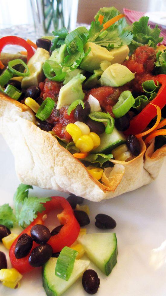 Vegan Taco Salad with Homemade Tortilla Bowls #vegan #entree #recipe