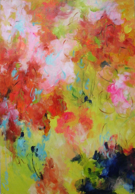 Elena 36x24 abstract painting original contemporary Large pink painting