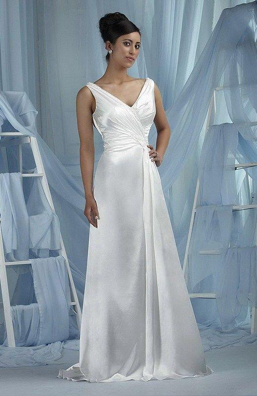 A-line Strapless Chapel Train Satin Floor-length Wedding Dresses