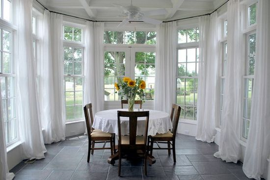 Sunroom / Dining Room Elegant White Window Treatments #luxury #homes #house #decor #home #interior #design #curtains #sheers