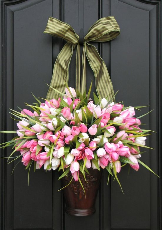 Pink and White Tulip flower bucket