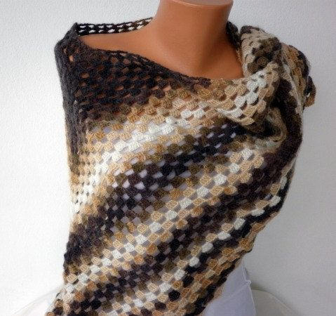 SALE  Brown Shawl  Earth Tones  Autumn  Coffee Tan Taupe by anils, $62.00