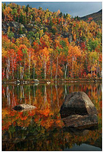 fisherman in the autumn sunrise, Round Pond, Adirondacks State Park, NY.