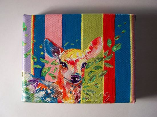 Little Fawn Original Acrylic Painting Home by thebluewindmill, $45.00