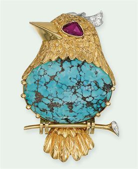 A TURQUOISE, RUBY AND DIAMOND BROOCH, BY CARTIER