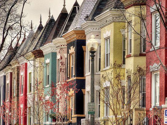 Colourful Washington DC row houses