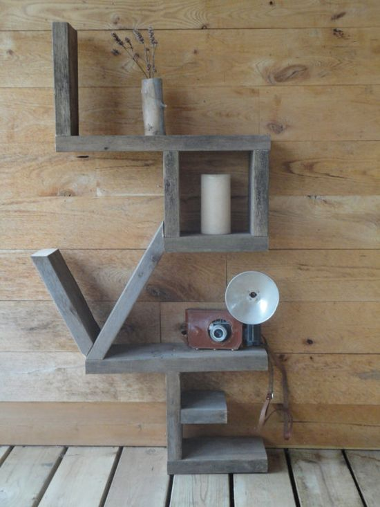 'Love Shelf' constructed of salvaged wood. This is an etsy link... but easy to diy