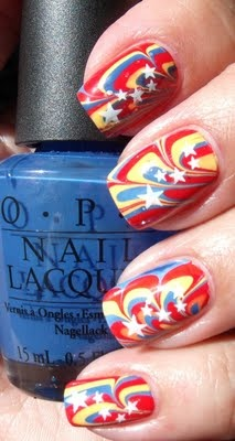 Festive water marbled & stamped nails for Venezuelan Independence Day. nail art