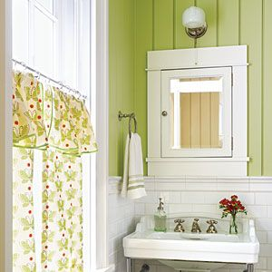 Bold green gives this cottage-style bath instant personality.