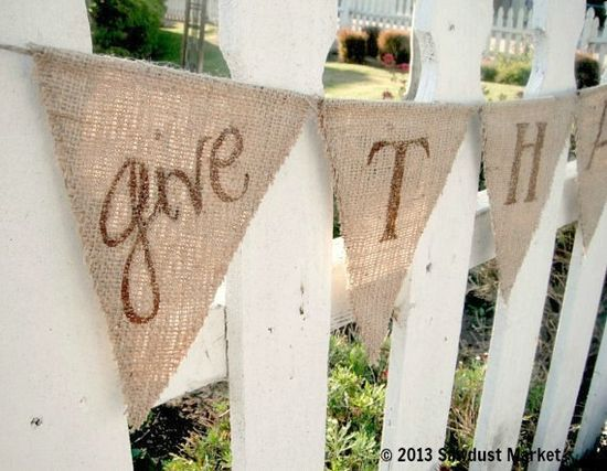 Thanksgiving Decorations, Thanksgiving Banner, Give Thanks bunting REVERSIBLE with Polka Dots on Etsy, $30.00