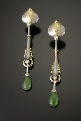 Smooth jade drops, diamonds, platinum and gold earrings - Richard Kimball - Denver, CO