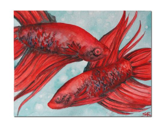 ACEO of my original Watercolor painting of Crimson by SamIamArt, $4.00