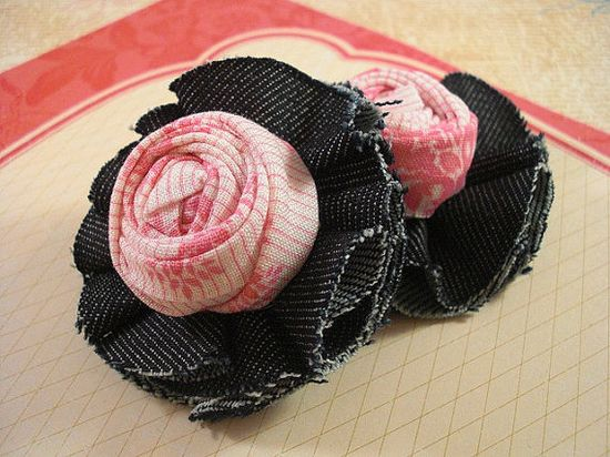 2 PK Handmade Denim flower with rolled fabric by TheBlingStash, $4.85