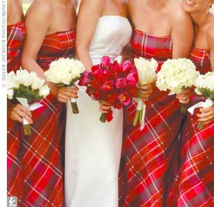 I love the idea of plaid gowns for a Christmas wedding.