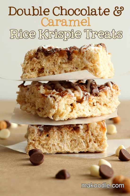 double chocolate and caramel Rice Krispie Treats