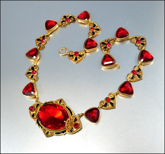 Glass Heart Enamel Czech Art Deco Necklace Art Deco Jewelry Vintage 1920s Jewelry Gold Ruby Red