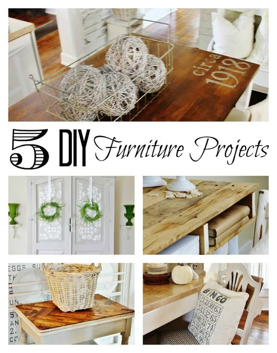 Five DIY furniture projects including a herringbone paint stick table from thistlewoodfarms.com