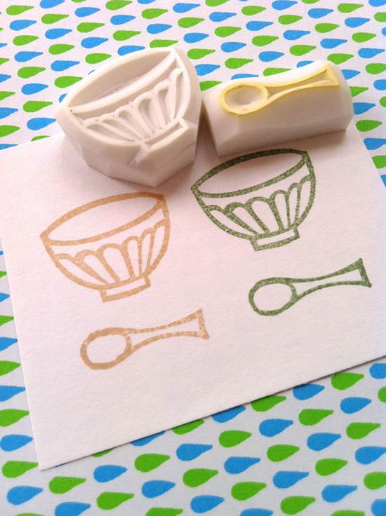 mug cup and spoon - hand carved stamp - hand carved rubber stamp - spoon - cup - mid century inspired - set of 2 - no4 - READY TO SHIP. $9,00, via Etsy.