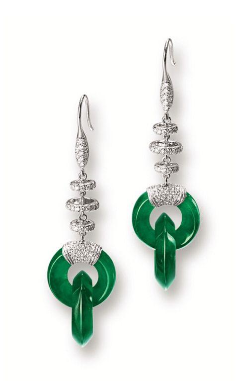 Jadeite and diamond earrings