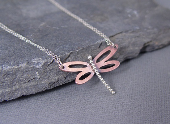 Dragonfly Copper Pendant gifts for her Gifts under 40 by HapaGirls, $40.00