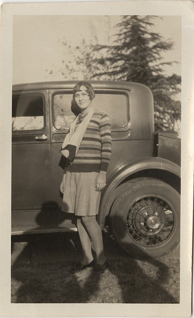 Flapper, Old Car, and Shadow Couple