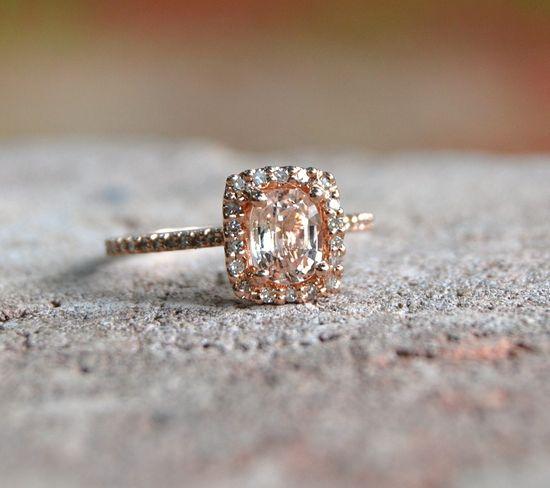 Cushion peach champagne sapphire 14k rose gold diamond ring.