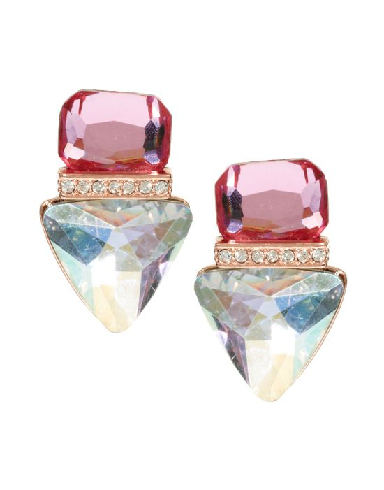 Jewelled Triangle Stud Earrings