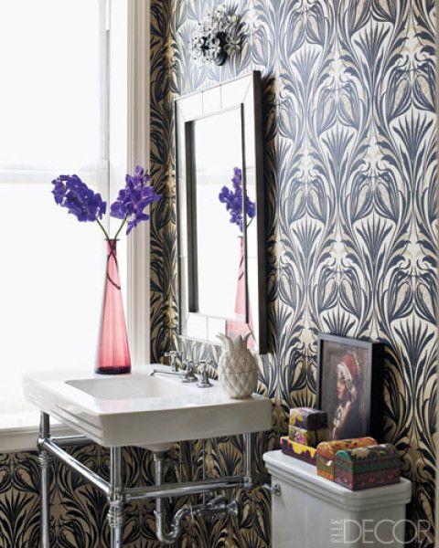 Elle Decor bath -- love the wallpaper