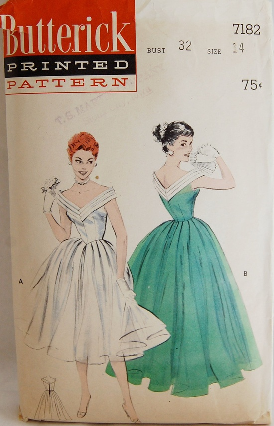 Vintage 1950s Butterick Misses' Evening Dancing Dress Pattern