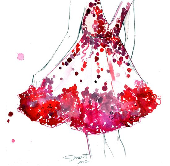 Watercolor and Pen Fashion Illustration, Jessica Durrant, - Do a Twirl print