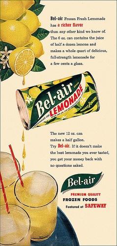 Bel-Air Frozen Lemonade ad, 1953. #vintage #1950s #summer #drinks #food #ads