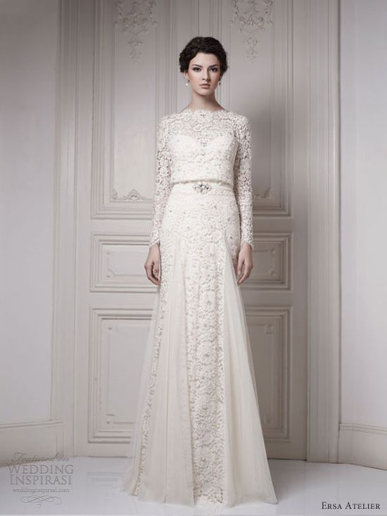 ersa atelier bridal 2013 long sleeve lace wedding dress