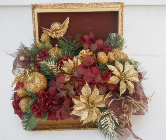 Silk Christmas Flower Arrangement in Decorative Book