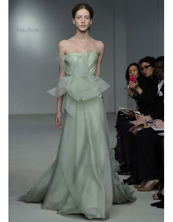 A mint gown by Vera Wang.