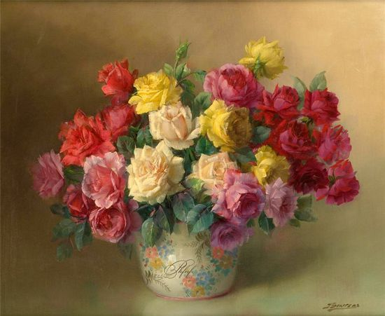 Flower painting ... Julien Stappers (1875-1960)