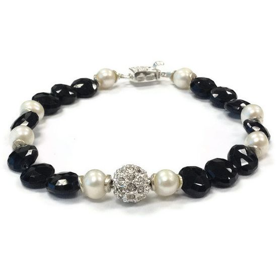 Black Bracelet Sterling Silver Jewelry Pearl by jewelrybycarmal, $62.00