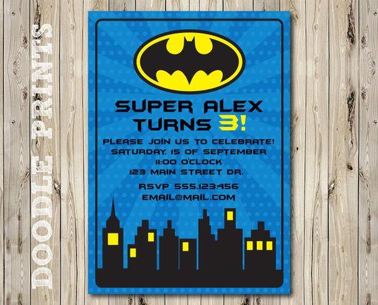 "Printable Batman Super Hero Birthday Party Invitation - Customized Printable Invitation Boy's Party ""Batman Gotham Design"". $8.00, via Etsy."