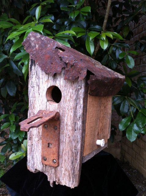 Wooded Birdhouse Rusty Hinge Upcycled Recycled Shabby Folk Art